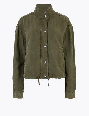 Куртка-бомбер с высокой горловиной M&S Collection. Цвет: болотный