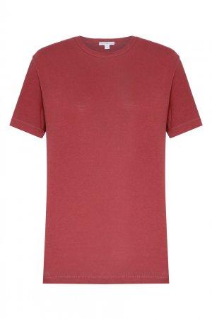 Малиновая футболка с круглым вырезом James Perse. Цвет: бордовый