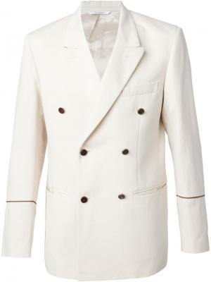 Двубортный пиджак Umit Benan. Цвет: белый