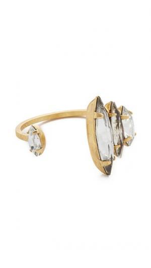 Разомкнутое кольцо с кристаллами Elizabeth Cole. Цвет: золотой