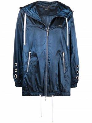 Куртка с кулисками и логотипом LIU JO. Цвет: синий