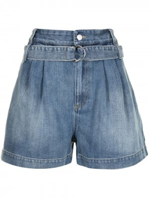 Джинсовые шорты с поясом Tibi. Цвет: синий
