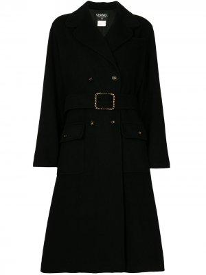 Двубортное пальто 1995-го года Chanel Pre-Owned. Цвет: черный