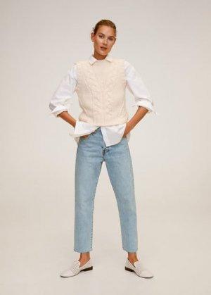 Укороченные джинсы straight fit - Havana Mango. Цвет: светло-синий