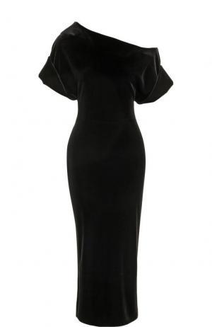 Приталенное бархатное платье с открытым плечом Christopher Kane. Цвет: чёрный