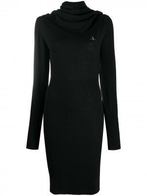 Платье-джемпер миди с воротником-хомут Vivienne Westwood Anglomania. Цвет: черный