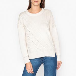 Пуловер в полоску из трикотажа PEDRO BERENICE. Цвет: экрю