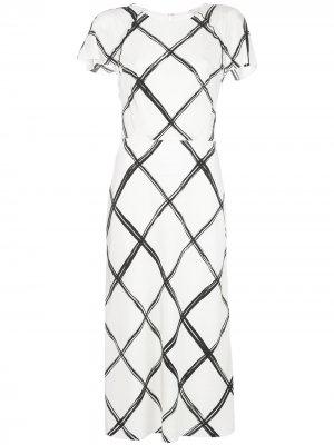 Платье миди Fence с принтом Jason Wu Collection. Цвет: белый