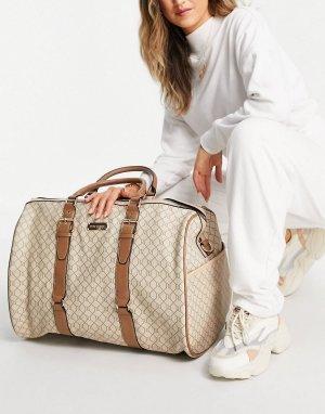 Бежевая объемная дорожная сумка с монограммой -Светло-бежевый River Island