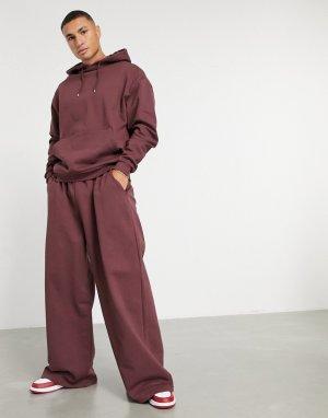 Бордовый oversized-спортивный костюм из худи и oversized-джоггеров с широкими штанинами -Красный ASOS DESIGN