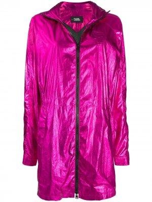 Парка Ikonik с эффектом металлик Karl Lagerfeld. Цвет: розовый