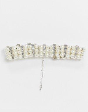 Серебристое ожерелье-чокер с искусственным жемчугом -Серебряный ASOS DESIGN