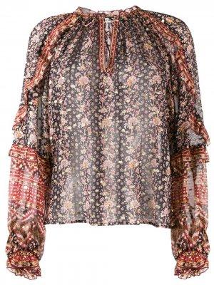 Блузка с длинными рукавами и принтом Ulla Johnson. Цвет: нейтральные цвета