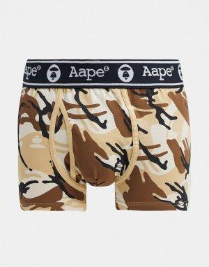 Бежевые эластичные трикотажные боксеры с камуфляжным принтом AAPE By A Bathing Ape-Бежевый APE®