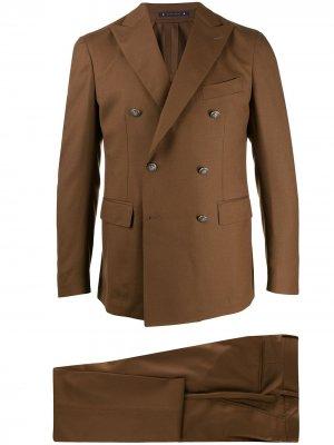 Костюм с двубортным пиджаком Bagnoli Sartoria Napoli. Цвет: коричневый