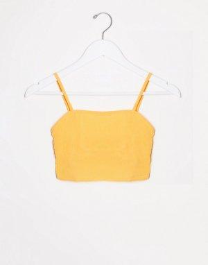 Пастельно-оранжевый пляжный кроп-топ от комплекта для груди большого размера с квадратным вырезом ASOS DESIGN
