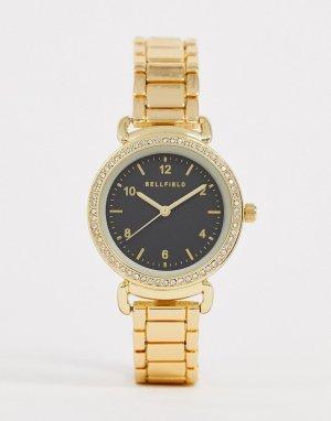 Женские наручные часы с черным циферблатом -Золотой Bellfield
