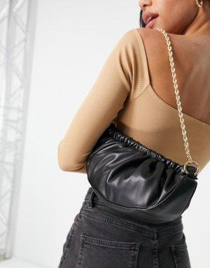 Черный объемный клатч со сборками и съемной золотистой цепочкой -Черный цвет ASOS DESIGN