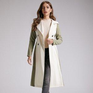 SBetro двухцветное пальто-тренч с поясом и пуговицами SHEIN. Цвет: многоцветный