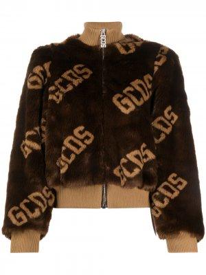 Фактурная куртка-бомбер с логотипом Gcds. Цвет: коричневый
