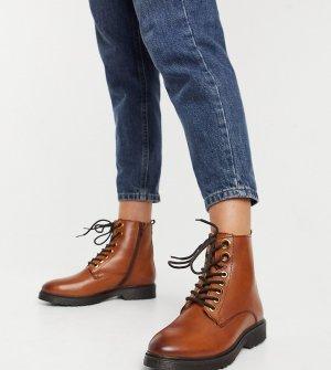 Светло-коричневые ботинки на шнуровке и плоской подошве из искусственной кожи Wide Fit-Светло-коричневый Dune