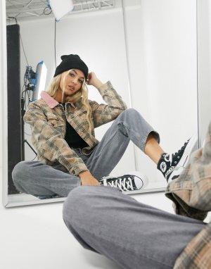 Клетчатая джинсовая куртка в стиле ретро от комплекта -Коричневый Kickers