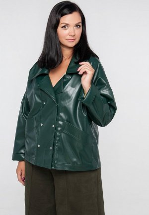 Куртка кожаная Limonti. Цвет: зеленый