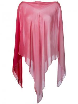 Пончо с асимметричным подолом Gigli Vintage. Цвет: розовый и фиолетовый