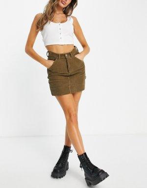 Вельветовая юбка с большими карманами цвета хаки -Зеленый цвет Topshop