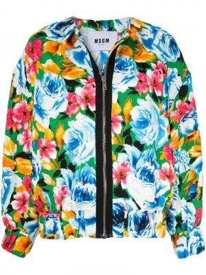 Куртка-бомбер с цветочным узором MSGM. Цвет: разноцветный