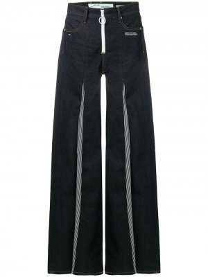 Расклешенные джинсы с контрастным дизайном Off-White. Цвет: синий