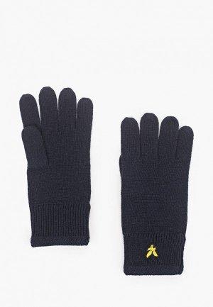 Перчатки Lyle & Scott Racked Rib Glove. Цвет: синий