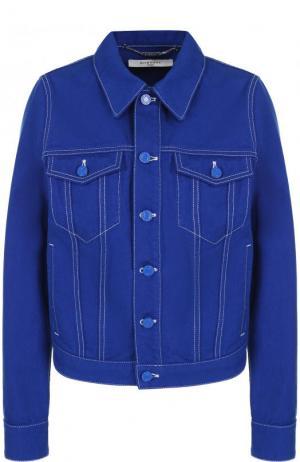 Джинсовая куртка с контрастной прострочкой Givenchy. Цвет: синий