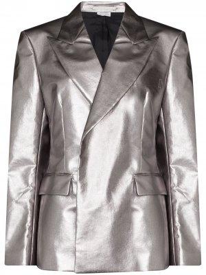 Однобортный пиджак с эффектом металлик Comme Des Garçons Homme Plus. Цвет: серебристый