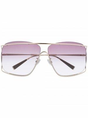 Массивные солнцезащитные очки в геометричной оправе Max Mara. Цвет: золотистый