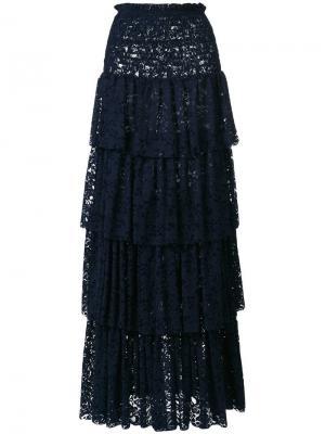 Длинная многоярусная кружевная юбка Pinko. Цвет: синий