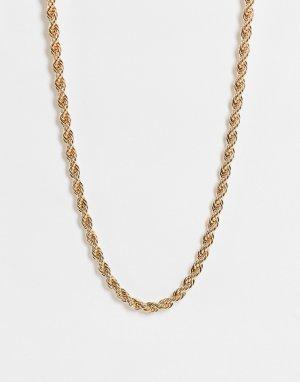 Золотистое ожерелье-цепочка с плетеным дизайном Janet-Золотистый Monki