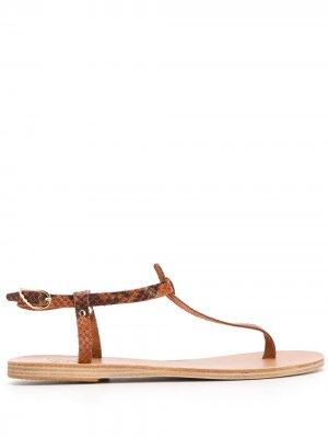 Сандалии Lito с тиснением под кожу питона Ancient Greek Sandals. Цвет: коричневый