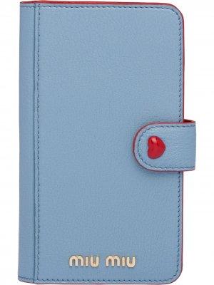 Чехол для iPhone X/XS из кожи мадрас Miu. Цвет: синий