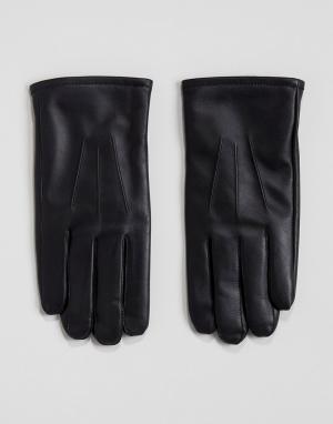 Кожаные черные перчатки в подарочной упаковке ASOS. Цвет: черный