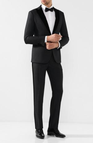 Смокинг из смеси шерсти и шелка с остроконечными лацканами Giorgio Armani. Цвет: серый