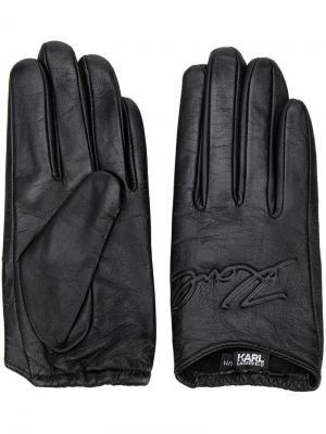 Перчатки с вышитым логотипом Karl Lagerfeld. Цвет: черный