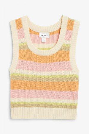 Вязаный пуловер Monki. Цвет: белый, зеленый, розовый, разноцветный, оранжевый
