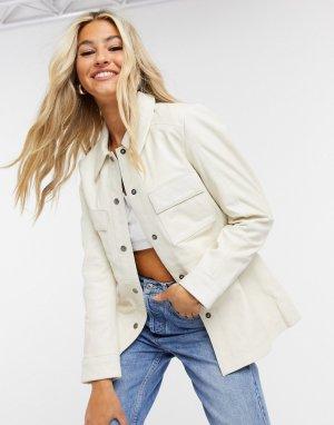 Кожаная куртка-рубашка кремового цвета -Белый Muubaa