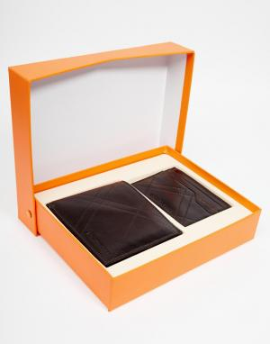 Подарочный набор с кожаным бумажником и визитницей Guspi Hugo Boss. Цвет: черный