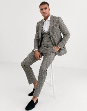 Коричневый приталенный пиджак в клетку -Серый Harry Brown