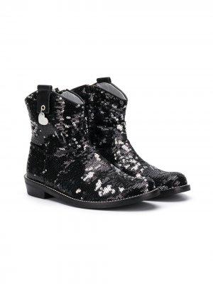 Ботинки с пайетками Monnalisa. Цвет: черный