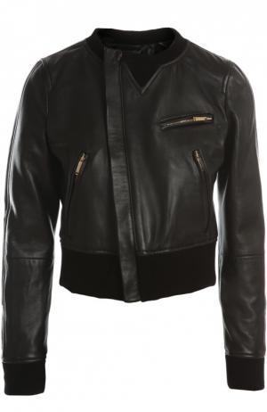 Кожаная куртка Dsquared2. Цвет: черный