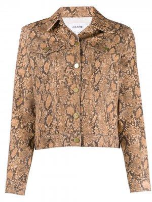 Приталенная куртка с тиснением под змеиную кожу FRAME. Цвет: нейтральные цвета