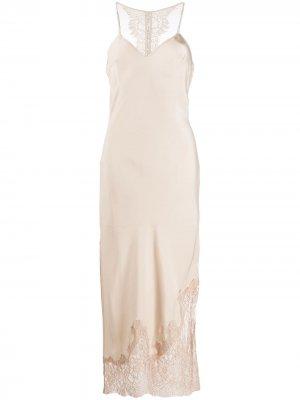 Платье-комбинация с кружевной вставкой Gold Hawk. Цвет: нейтральные цвета